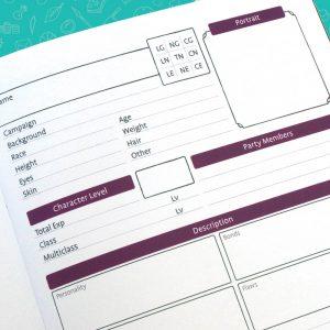 Rogue & Bard Character Journal Character Page